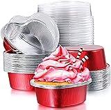 BASHANG Taza de Aluminio de la Hoja de Aluminio de San Valentín Taza de Cupcake en Forma de corazón con Tapas, Taza de Cupcake Tazas para Hornear Tazas con Tapa Rosa Rosa bandejas Horno
