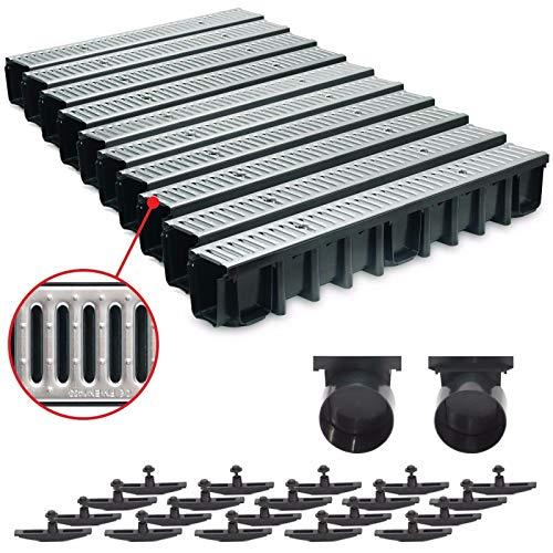 10 m Entwässerungsrinne für modulares System A15 148mm, komplett Stahl verzinkt