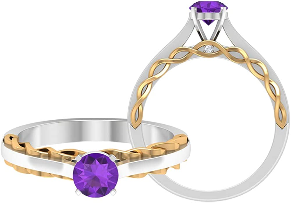 5 MM Amethyst Ring, Two Tone Engagement Ring, Solitaire Wedding Ring, HI-SI Diamond Accent Ring, Solid Gold Promise Ring for Her, 14K Gold