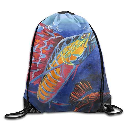 YOWAKi Cool Sailfish Painting Unisex Outdoor Rucksack Shoulder Bag Travel Drawstring Backpack Bag