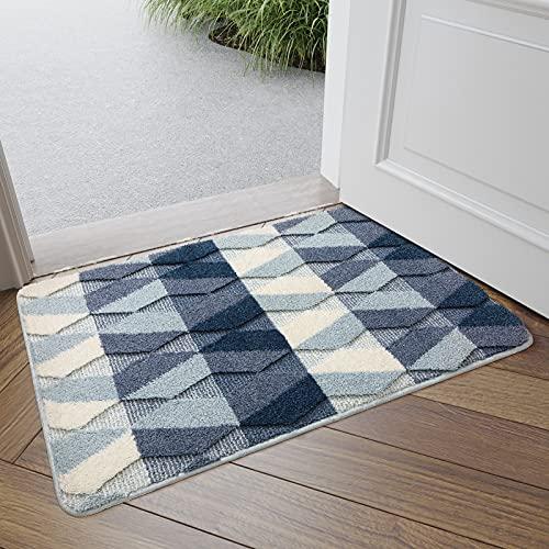 DEXI Indoor Doormat Front Door Rug, 20″x32″ Absorbent Machine Washable Inside Door Mat, Non Slip Low-Profile Entrance Rug for Entry, Back Door, Blue