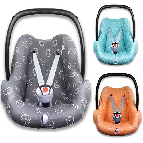 BriljantBaby Fit NIJNTJE/MIFFY - Funda universal 100% algodón para portabebés, asiento de coche, por ejemplo, Maxi Cosi CabrioFix, Citi, Pebble y otros negro gris