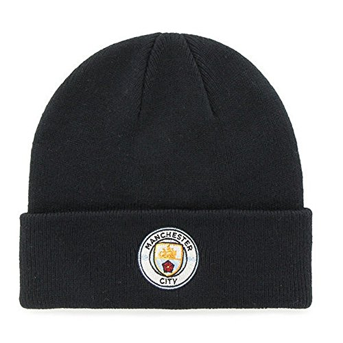 Manchester City FC - Gorro Oficial de Punto Invierno Modelo Escudo Adulto Futbol (Talla Única) (Azul Marino)