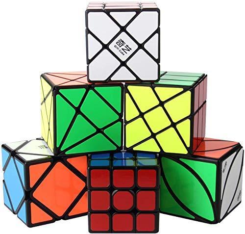 ROXENDA Speed Cube Set, [6 Pack] Magic Cube Set di Qiyi Skew Axis Windmill Fisher Ivy 3x3 Speed Cube, Collezione Cubo di Velocità per Bambini e Adulti