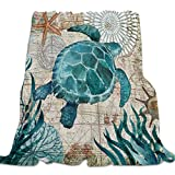 Singingin Ultra Soft Flannel Fleece Bed Blanket Sea Turtle Ocean Animal Landscape Throw Blanket All Season Warm Fuzzy Light Weight Cozy Plush Blankets for Living Room/Bedroom 40 x 50 inches