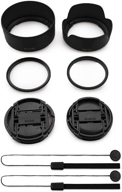 kinokoo Kit de Accesorios de Lentes de cámara con Filtro UV de 49mm y 52mm para Canon EOS M50/M100/M10/M6 Parasol Reversible de 49mm y 52mm + 2 Tapas de Lentes Kit de Pantalla de Lente (F)