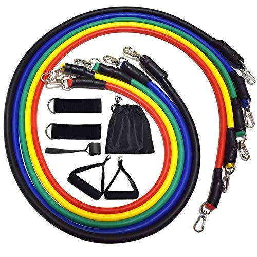 Banda elástica de fitness, banda elástica de fitness, banda de resistencia: 5 tubos de látex, 2 asas, 2 correas de tobillo, ancla de puerta, bolsa