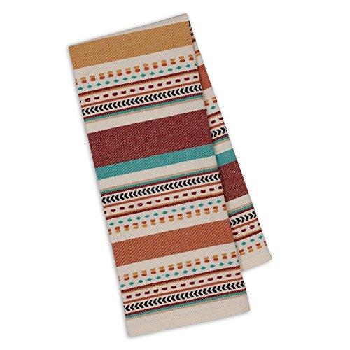 Design Imports Southwest Table Linens, 18-Inch by 28-Inch Dishtowels, Set of 2, Santa Fe Dobby Stripe
