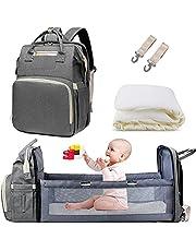 AmWile Plecak na pieluchy 3 w 1, wodoodporna podróżna torba na pieluchy o dużej pojemności, wielofunkcyjna składana kołyska dla niemowląt, stolik do przewijania