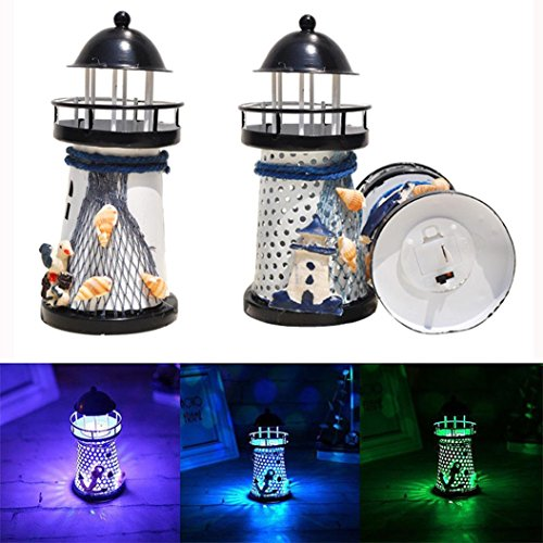 Staron Lighthouse Night Light Decor Candle Tealight Holder Lamp, Marine Model Seagulls Style Nautical Beach Shell Buoy Decoration Vintage Openwork Ocean Lighthouse Wedding Lamp (Black)