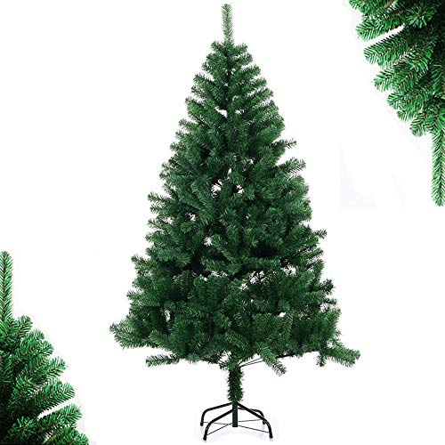 SoFun Direct Shop 4FT Christmas Tree Artificial Full Christmas Pine Tree Small Unlit Hinged Fir Holiday Tree with Sturdy Metal Legs - 307 Tips, 4 Feet