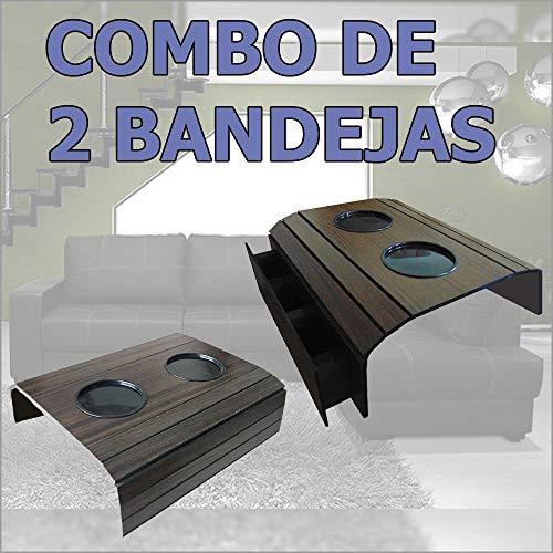 Bandeja/Esteira Porta Copos para Braço de Sofá - Madeira Tabaco, Kit com 01 porta controle e 01 tradicional