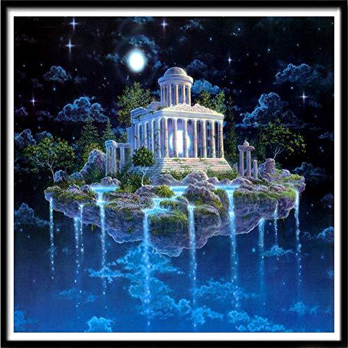 Xevkkf 5D Pintura Diamante Painting Kit_Castillo A La Luz De La Luna 30X30Cm_Pintura Diamantes Kits Estampados De Punto De Cruz Diamantes De Imitación Decoración De Pared