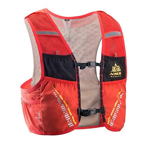 AONIJIE 5L Hombre Mujer Ligero Mochila de hidratación Superior Chaleco para Trail Running Ciclismo Marathoner Profesional (Rojo -L/XL)