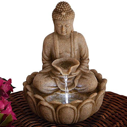Bits and Pieces - Indoor Buddha Fountain - Zen Tabletop Water Fountain