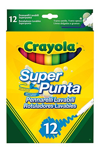 Crayola SuperPunta, 12 Plumas color lavable