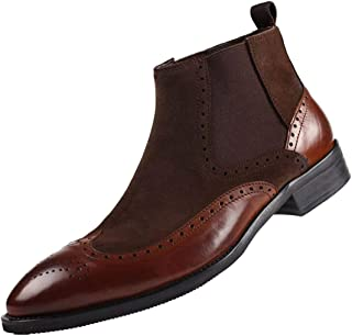 SANTIMON Mens Chelsea Dress Boots Leather Suede Wingtip Brogue Distinctive Slip on
