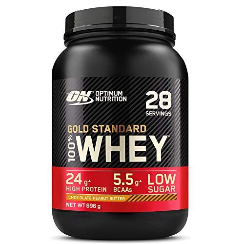 Optimum Nutrition Gold Standard 100% Whey Proteína en Polvo, Glutamina y Aminoácidos Naturales, BCAA, Chocolate Mantequilla de Cacahuete, 28 Porciones, 900g, Embalaje Puede Variar ⭐