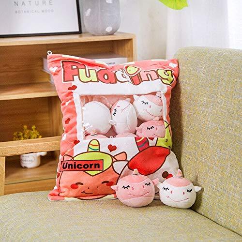 ThuyDM Shop Dinosaur Plush Pudding Bag Food Toy Mini Animals Balls Yellow Chick Cat Dinosaur Pink Bunny 8 pcs Snack Zipper Bag Decor Pillow Cushion Girls-8pcs-2-about 45cm