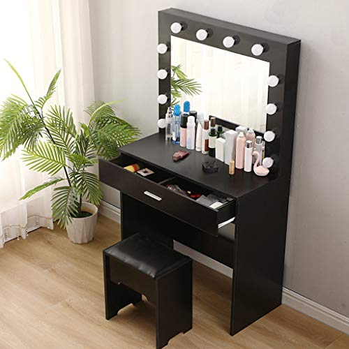 Riforla Vanity Set with Lighted Mirror, Makeup Vanity Dressing Table Dresser Desk with Large Drawer for Bedroom, White Bedroom Furniture, Black Color (12 Cool LED Bulbs)
