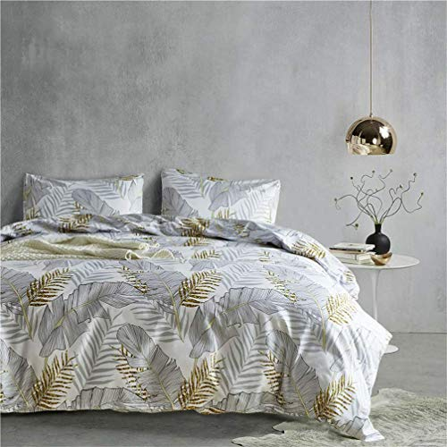 788 Duvet cover Flowers Tropical Leaves Geometric Line Print White Blue Gray Green Bedding set Quilt Cover and Pillowcase (Leaf 2,200x200 cm)