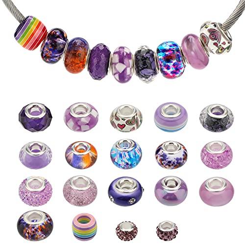 AIEX 54 Pezzi Perline con Foro Grande Perle di Cristallo con Strass Assortiti Perline Europee Colorate Forniture di Perline per Ciondoli per la Creazione di Gioielli Bigiotteria Fai Da Te