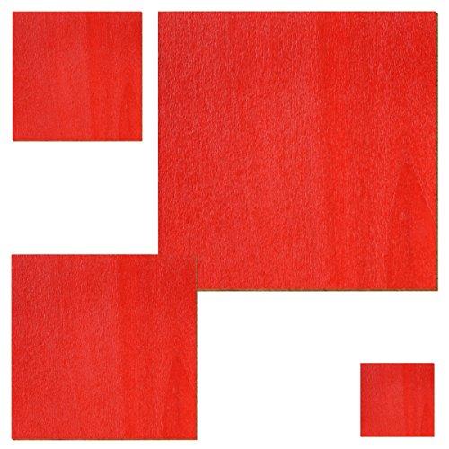 Bütic GmbH Homedeco-24–contrachapado Rojo–Cuadrados–Tamaño Selección, Contrachapado, Quadrat 15 x 15 cm