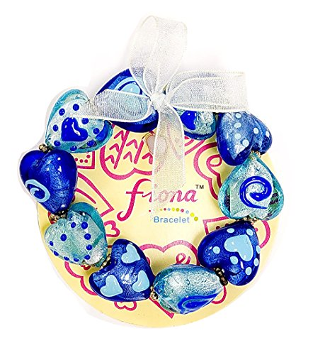Linpeng Lampwork Women Handmade Painted Heart Glass Beads Stretch Bracelet, Blue