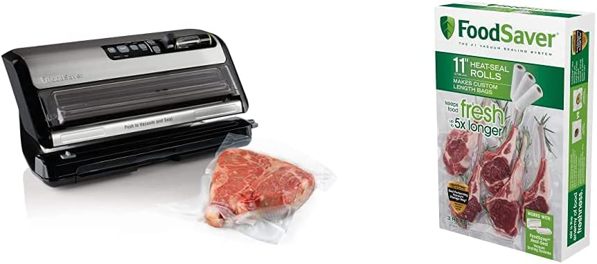 FoodSaver FM5200 2-in-1 Automatic Vacuum Sealer Machine with Express Bag Maker | Silver, 9.3 x 17.6 x 9.6 inches & 11