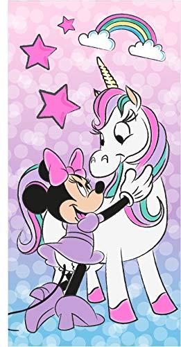 Various Toalla de Playa Infantil con Licencia Oficial Disney (Minnie y Unicornio)