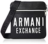 ARMANI EXCHANGE Small Flat Crossbody Bag - Borsa Messenger Uomo, Nero (Black/Gun Metal), 20x13x26 cm (B x H T)