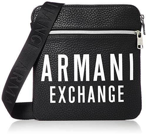 Armani Exchange - Small Flat Crossbody Bag, Bolso Hombre, Negro (Black), 10x10x10 cm (W x H L)