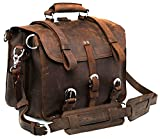 Polare Thick Full Grain Leather 16'' Briefcase Shoulder Messenger Bag For Men Fit 15.6'' Laptop