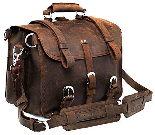 Polare Men's Full Grain Leather Shoulder Briefcase Messenger Bag Satchel Fit 17'' Laptop (Dark Brown)