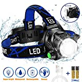 Super Bright Headlamp, USB Rechargeable Led Head Lamp, IPX4 Zoomable Waterproof...
