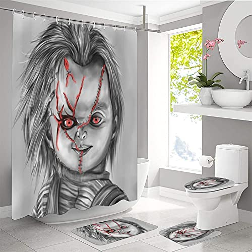 """4 Piece Chu-CKY Do-l-l Horror shower curtain Sets with Non-Slip Rug, Toilet Lid Cover and Absorbent Carpet Bath Mat, Waterproof Fabric Shower Curtains with 12 Hooks for Bathroom Decor, 70.8""""X70.8"""""""