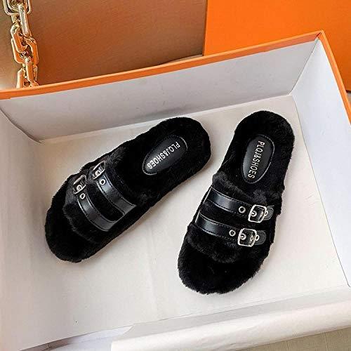 ypyrhh Zapatos de Casa Interior Suave Algodón Zapatilla,Zapatillas cómodas de Fondo Plano,Zapatillas de algodón Antideslizantes-Negro_37,Zapatillas de Estar por Hombre/Mujer Fluff