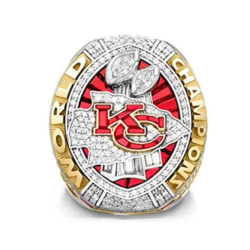 SUI Champion Ring, NFL 2020 Kansas City Chiefs Championship Ring Vorhersage Version Geschenk Für Fans Memorial Collector Ring Größe 8-14(Size:10)