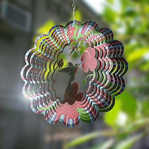 CHIRISEN Carillón de viento de metal para exteriores, 3D, colibrí, decoración de jardín, campanillas de viento para colgar en...