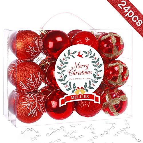 MELLIEX 24pcs Bolas de Navidad de Rojas, 6cm Bolas árbol de Navidad de Plástico para la Decoración del Hogar de la Fiesta del árbol de Navidad