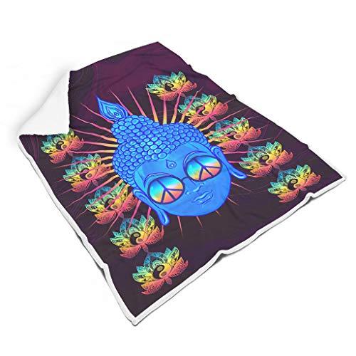 BOBONC Boeddha Peace Neon Party deken, flanel deken, pluizig zachte warmtedeken in vele maten verkrijgbaar