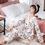 SMYFM Pijama, Pijamas de Mujer de Manga Larga Nueva Primavera Otoño Pijamas para MujeresConjunto de Pijamacon Cuello en V Ropa de DormirPijamas deMujer, H, M