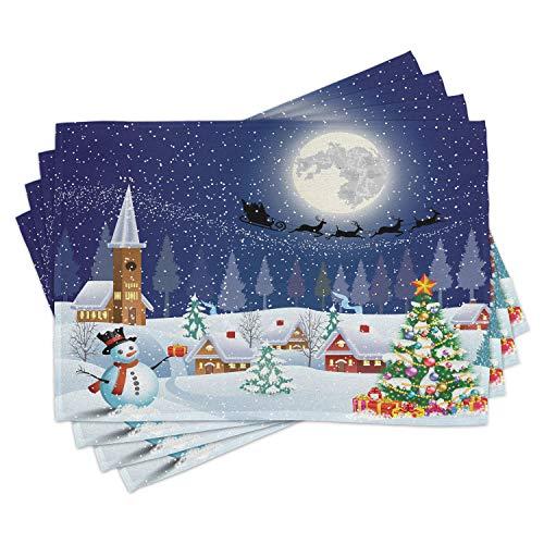 ABAKUHAUS Weihnachten, Platzmatten, Rutschfester Waschbarer Tischdeco für Esszimmer und Küche, Christbaumkugeln hängen Über tannen Zweig Herab mit Sternen Verzierung, Lila Grau Weiß