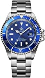 Mens Luxury Watches Rotatable Bezel Sapphire Glass Luminous Hand Quartz Silver Tone Stainless Steel Watch (Blue)