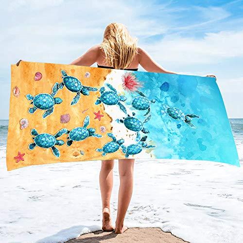 Bonsai Tree Turtle Beach Towel, Sea Turtles Large Microfiber Bath Towel Gifts for Women, Ocean Summer Starfish Seashells Funny Sand Free Quick Dry Travel Towels for Yoga Sports 31' x 63'