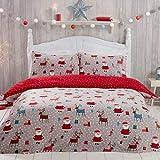 Sleepdown Juego edredón con Funda de Almohada (135 cm x 200 cm), Papá Noel, cálido y Acogedor, diseño de Renos, Color, Polar, Rojo y Gris, Suelto