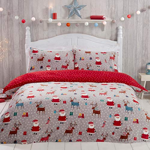 Sleepdown Santa Christmas Fleece Red Warm Cosy Super Soft Easy Care Reindeer Presents Xmas Grey Stars Reversible Mini Polka Dots Duvet Cover Quilt Bedding Set with Pillowcases - Double (200cm x 200cm)