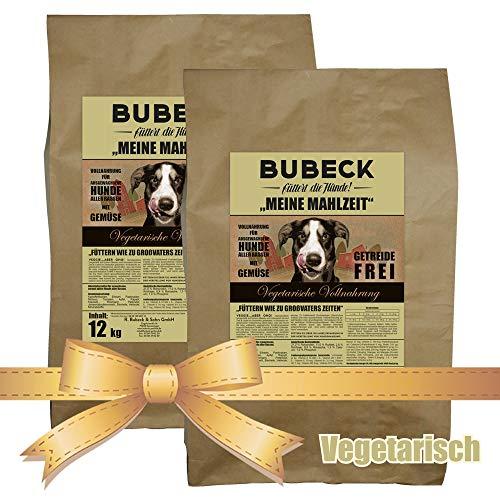 Trockenfutter für Hunde   Vegetarisch mit Äpfel & Kokosöl   Hundefutter getreidefrei   vegetarische Vollnahrung für Hunde   für futtersensible Hunde geeignet   2 x 12 Kg   gebackenes Hundefutter