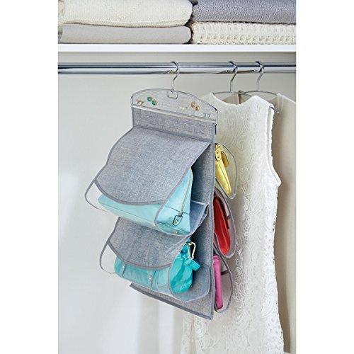 InterDesign Aldo Hanging Handbag and Jewellery Storage, 5-Pocket Hanging Wardrobe Storage for Handbags and Accessories, Made of Polypropylene, Grey