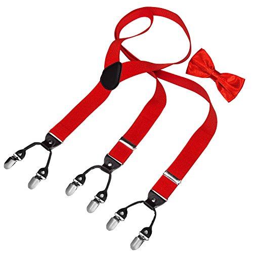 HBF Hosenträger mit den 6 starken Clips und Fliege KIT mehrfarbig elastisch Y-formoig Länge für Damen und Herren Playshoes in verschiedenen Designs (Rot)